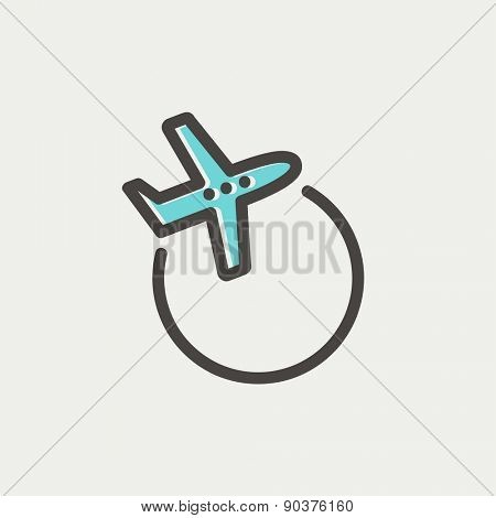 Airplane icon thin line for web and mobile, modern minimalistic flat design. Vector icon with dark grey outline and offset colour on light grey background.
