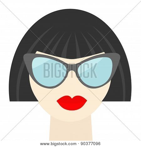 Fashion Brunet Woman Face With Sexy Red Lips, Sunglasses, Long Neck Flat Design