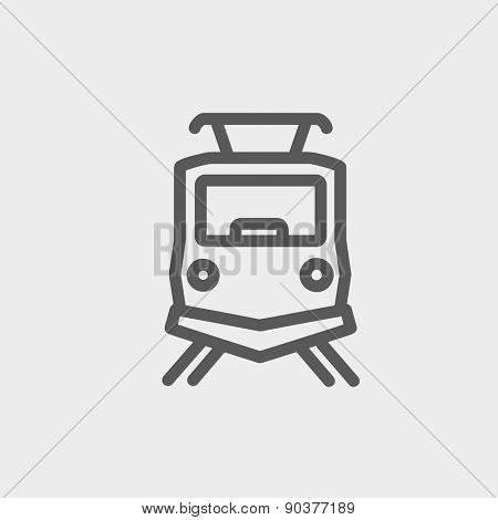 Front view of the train icon thin line for web and mobile, modern minimalistic flat design. Vector dark grey icon on light grey background.