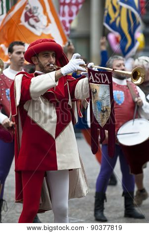 Reenactment In Medieval Costumes, Trumpeter