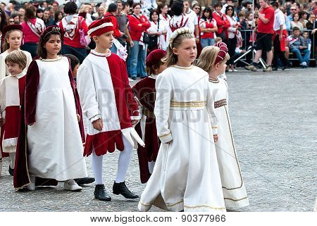 Children's Parade In Historical Costume