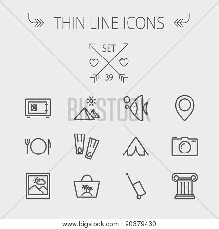 Travel thin line icon set for web and mobile. Set includes- camera wall, pin location, flioppers, fish, bag, table setting icons. Modern minimalistic flat design. Vector dark grey icon on light grey poster