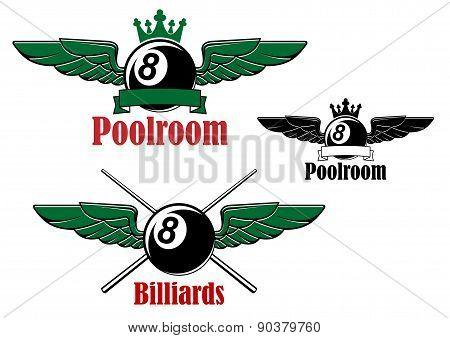 Pool or billiards ball with wings