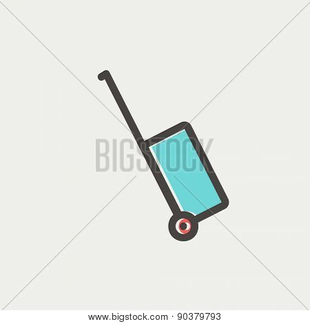 Luggage carrier icon thin line for web and mobile, modern minimalistic flat design. Vector icon with dark grey outline and offset colour on light grey background.