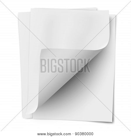 Stack Of Three Empty White Sheets Of Notebook Paper With One Deflected Corner Isolated