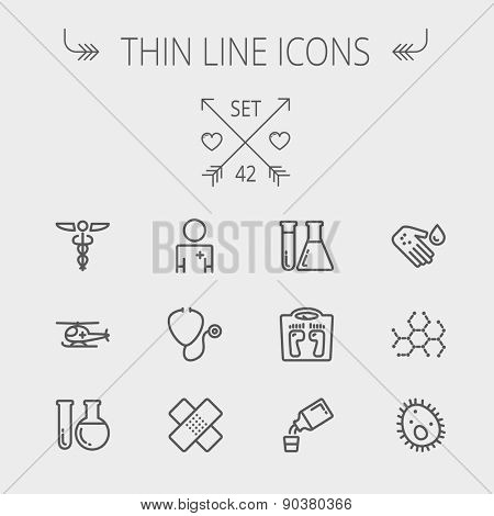Medicine thin line icon set for web and mobile. Set includes- molecule, medicine, doctor, stethoscope, bandage, medical symbol, air ambulance icons. Modern minimalistic flat design. Vector dark grey