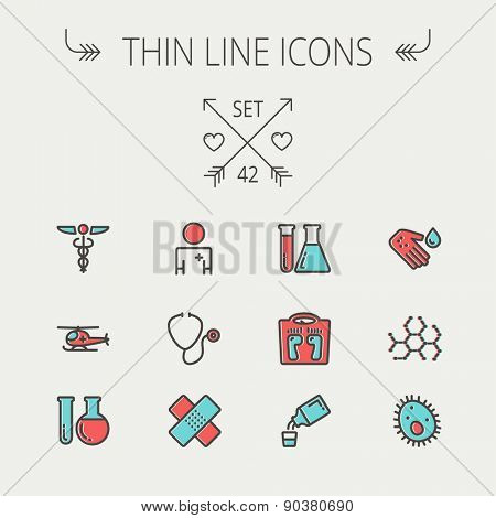 Medicine thin line icon set for web and mobile. Set include-molecule, medicine, doctor, stethoscope, bandage, medical symbol, air ambulance  icons. Modern minimalistic flat design. Vector icon with poster
