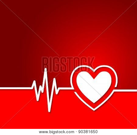 Heart Cardiogram With Heart Shape Concept.useful As Background For Medical,electrocardiogram,pharmac