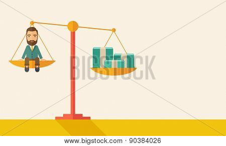 A happy smiling young male sitting on a balance scale with a money bill. Comparison concept. A Contemporary style with pastel palette, soft beige tinted background. Vector flat design illustration