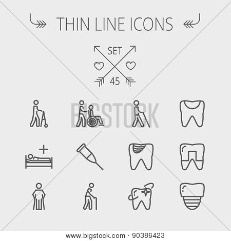 Medicine thin line icon set for web and mobile. Set includes- tooth, crutches, walker, injured person, sick person icons. Modern minimalistic flat design. Vector dark grey icon on light grey