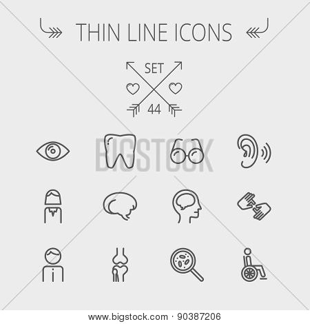Medicine thin line icon set for web and mobile. Set includes- tooth, eye, ear, hands, bone, brain, human icons. Modern minimalistic flat design. Vector dark grey icon on light grey background.