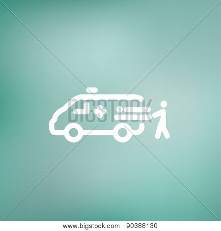 Man and ambulance car icon thin line for web and mobile, modern minimalistic flat design. Vector white icon on gradient mesh background.
