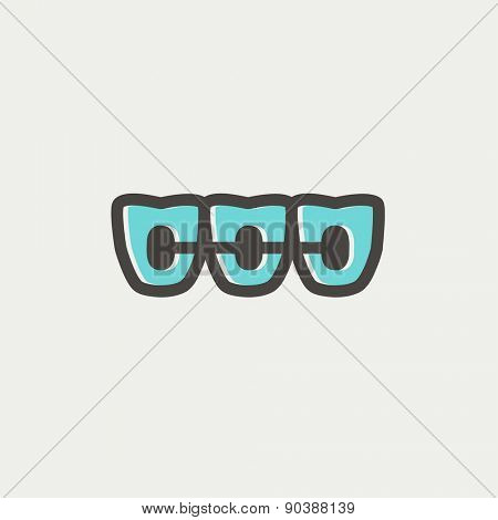 Othodontic braces icon thin line for web and mobile, modern minimalistic flat design. Vector icon with dark grey outline and offset colour on light grey background.