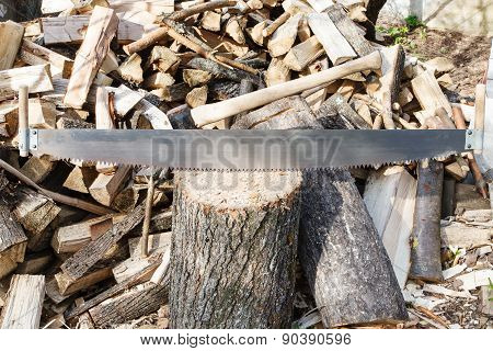 Two-handled Saw And Ax In Chopping Block