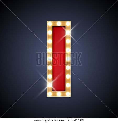 Vector illustration of realistic retro signboard letter I. Part of alphabet including special European letters.