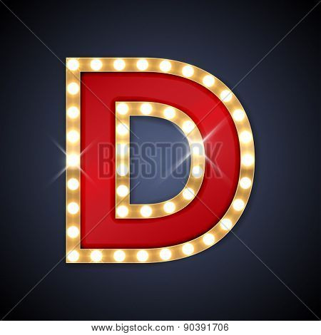 Vector illustration of realistic retro signboard letter D. Part of alphabet including special European letters.
