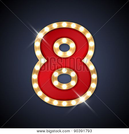 Vector illustration of realistic retro signboard number 8 (eight). Part of alphabet including special European letters. poster