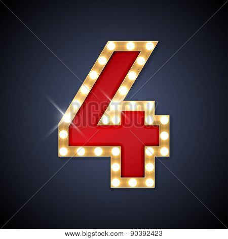 Vector illustration of realistic retro signboard number 4 (four). Part of alphabet including special European letters. poster