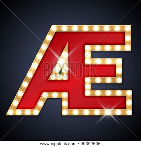 Vector illustration of realistic retro signboard letter Æ (ligature AE). Part of alphabet including special European letters.