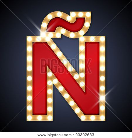 Vector illustration of realistic retro signboard letter Ñ (N with a diacritical tilde). Part of alphabet including special European letters.