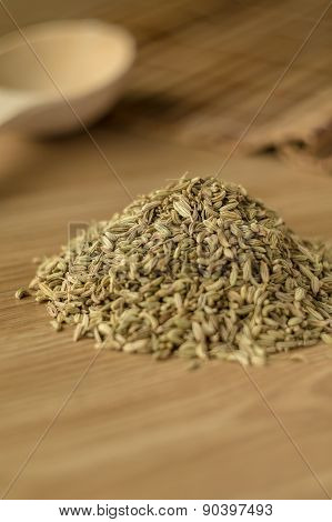 Spice Fennel On A Wooden Table.