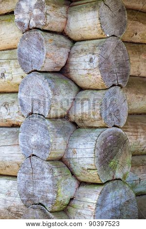 Corner Of Old Wooden Log House