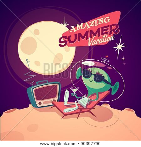 Amazing summer vacation. Retro styled card / poster / background. Vector illustration.