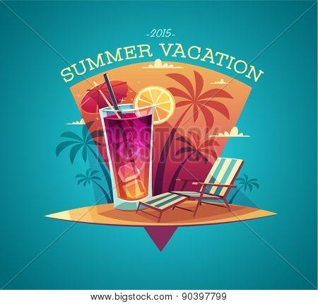 Summer card / poster / template. Vector illustration.