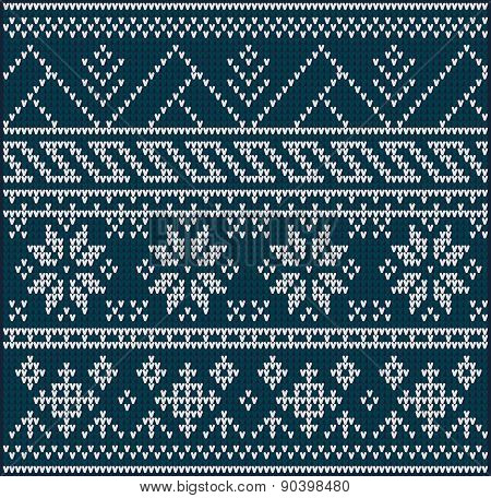 Winter sweater design on the wool knitted texture. Seamless pattern poster