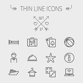 Travel thin line icon set for web and mobile. Set includes- luggage, food cover, towel on a hanger, bed, waiter, beach ball, starfish, cruise ship icons. Modern minimalistic flat design. Vector dark poster