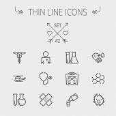 Medicine thin line icon set for web and mobile. Set includes- molecule, medicine, doctor, stethoscope, bandage, medical symbol, air ambulance icons. Modern minimalistic flat design. Vector dark grey poster
