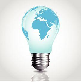 Lightbulb with world map