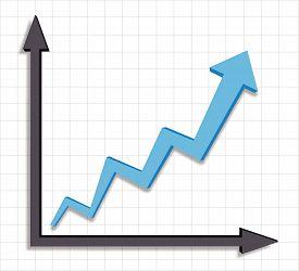 Growth progress blue arrow graph