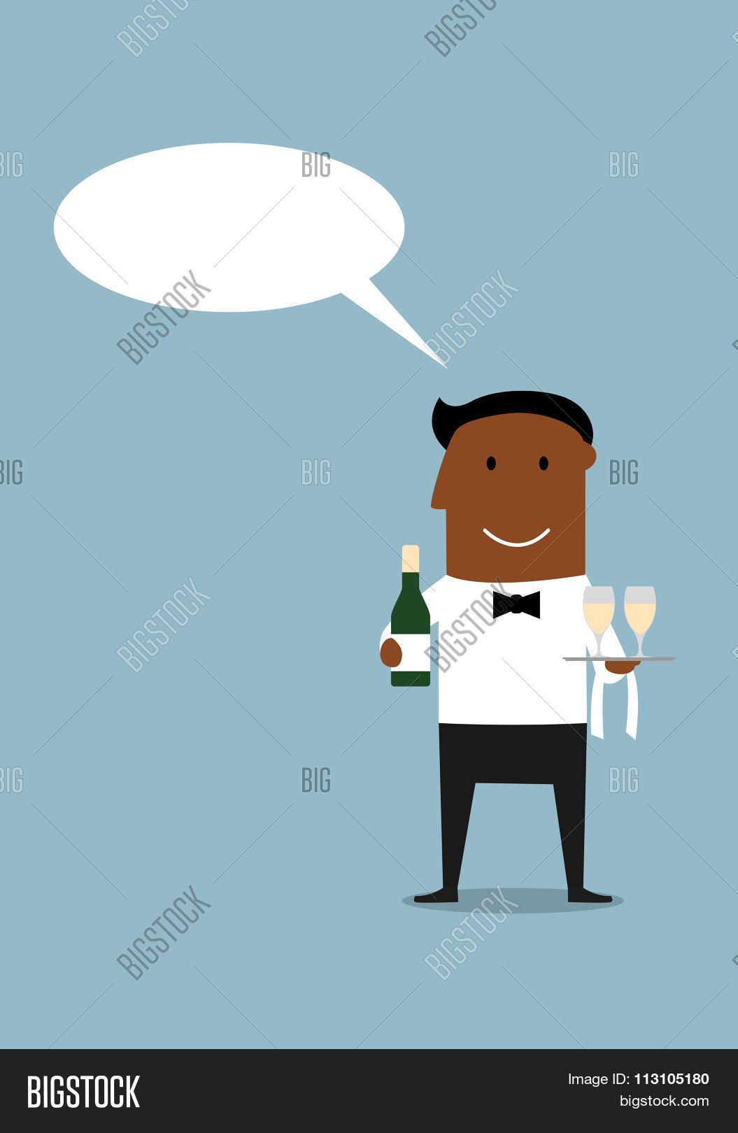 Happy Waiter Bottle Vector & Photo (Free Trial)   Bigstock