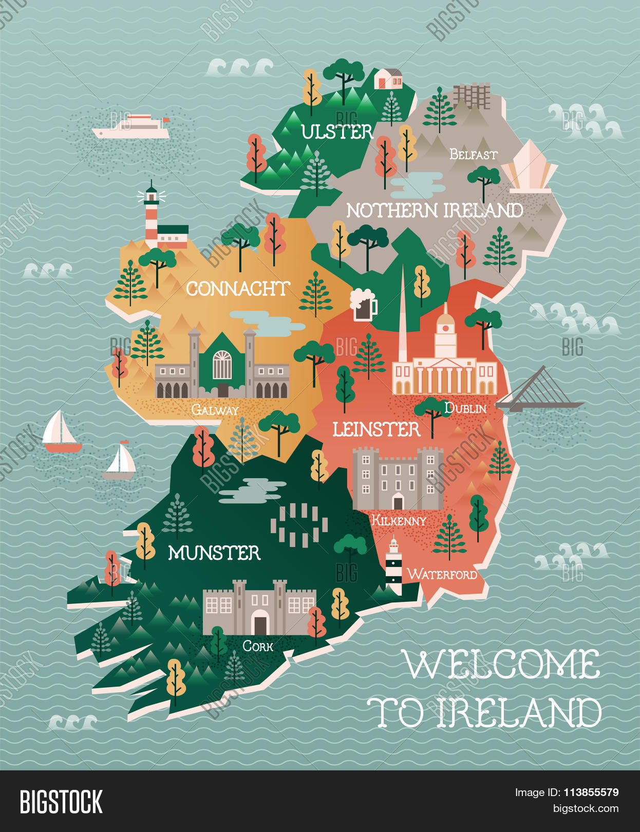 Map Of Ireland Major Cities.Travel Map Ireland Vector Photo Free Trial Bigstock