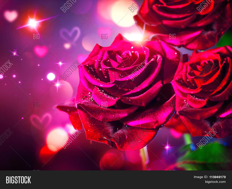 Roses hearts background valentine image photo bigstock - Big rose flower wallpaper ...