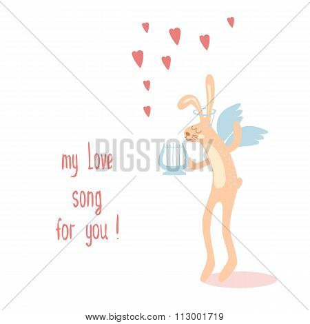 Banner For Design Posters Or Invitations On Valentine's Day With Cutest Rabbit And Hand Drawn Te