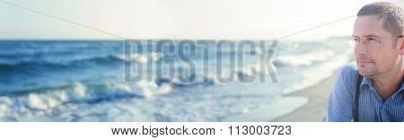 panorama ocean panoramic view man thinking or meditating portrait