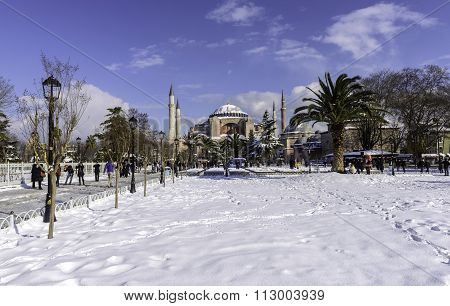 Snowy View Of The Saint Sophia In Istanbul, Turkey