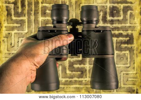 Binoculars helping to see opportunities on the maze of things