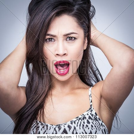 Beautiful Woman Surprsised Shocked Amazed