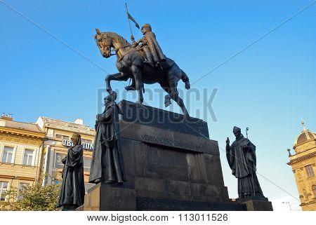 Prague, Czech Republic: May, 2011 - Wenceslas Monument in Wenceslas Square, Prague, Czech Republic