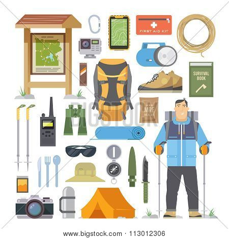 Hiking vector flat elements