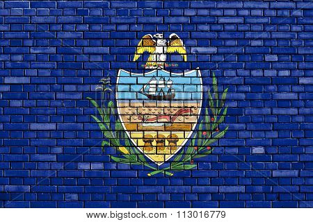 Flag Of Allegheny County Painted On Brick Wall