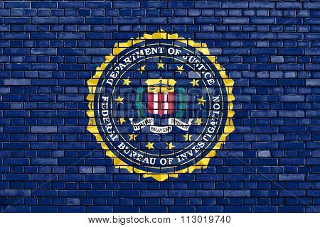 Flag Of Fbi Painted On Brick Wall
