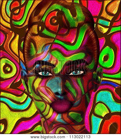 3D render of Colorful swirls create an abstract effect for this beautiful woman's close up face. Modern digital art image of a woman's face, close up with colorful abstract background.