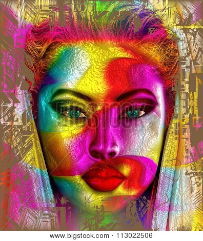 The face of color. A modern digital art creation of a woman's face with colorful ribbons.