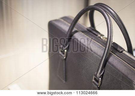 Store Window Man Bag Leather Briefcase