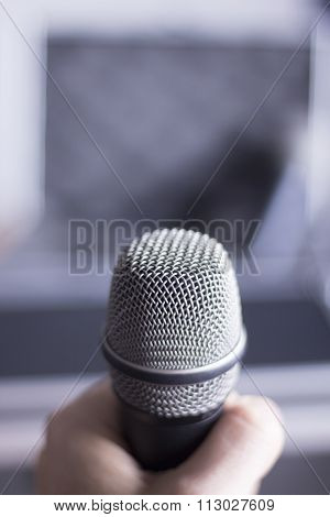 Professional Microphone Held In Hand