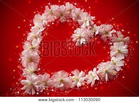 Heart Made Of Pink Flowers And Stars On Red Background - Saint Valentine´s Day